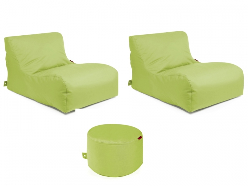 Outbag Sitzsack-Set l 2 Newlounge l Hocker Rock l Garteninsel Lime