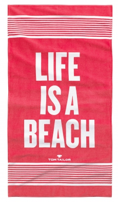 Tom Tailor l Strandtuch l 85x160cm l Badetuch l Life is a Beach l Koralle