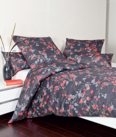 Janine Satin-Bettwäsche l Messina 43040 l 135x200cm l Floral l Nachtschattenblau Orange