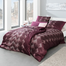 ESTELLA Bettwäsche Jan | Vino Bordeaux l Interlock-Jersey l 155x220cm