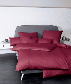 Janine Mako-Satin Bettwäsche Colors 31001 l 200x200cm l Uni Bettbezug l Bordeaux