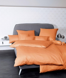 Janine Mako-Satin Bettwäsche Colors 31001 l 200x200cm l Uni Bettbezug l Orange