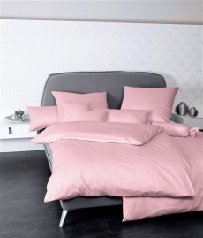 Janine Mako-Satin Bettwäsche Colors 31001 l 200x200cm l Uni Bettbezug l Rosa