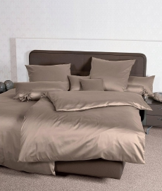 Janine Mako-Satin Bettwäsche Colors 31001 l 200x200cm l Uni Bettbezug l Taupe
