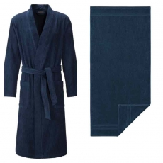 Egeria l Herren Sauna-Set l Kimono Adam M l Manhattan Gold Badetuch 100x150 l Dusty Blue