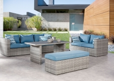 BEST 4-tlg. Lounge-Gruppe Curacao warm-grey/blau