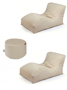3er Set Outbag Sitzsack 2 Wave + Rock l Lounge l Beige
