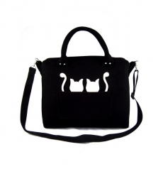 Handtasche Lissy the Cat Filz-Henkeltasche l Katzenmotiv Shopper Black and White