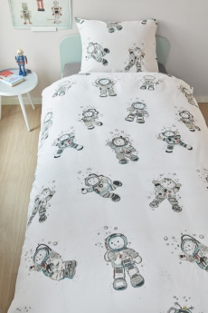 Beddinghouse KIDS Bettwäsche Astronaut Grey l 135x200cm l Grau