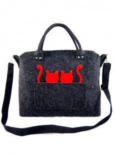 Handtasche Lissy the Cat Filz-Henkeltasche l Katzenmotiv Shopper Anthrazit Rot