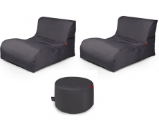 Outbag Sitzsack-Set l 2 Newlounge l Hocker Rock l Garteninsel Anthrazit