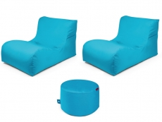 Outbag Sitzsack-Set l 2 Newlounge l Hocker Rock l Garteninsel Aqua