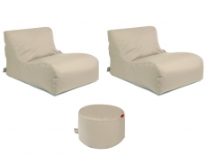 Outbag Sitzsack-Set l 2 Newlounge l Hocker Rock l Garteninsel Beige