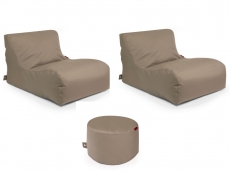 Outbag Sitzsack-Set l 2 Newlounge l Hocker Rock l Garteninsel Mud