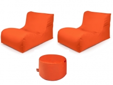 Outbag Sitzsack-Set l 2 Newlounge l Hocker Rock l Garteninsel Orange