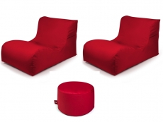 Outbag Sitzsack-Set l 2 Newlounge l Hocker Rock l Garteninsel Rot