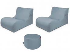 Outbag Sitzsack-Set l 2 Newlounge l Hocker Rock l Garteninsel Stone